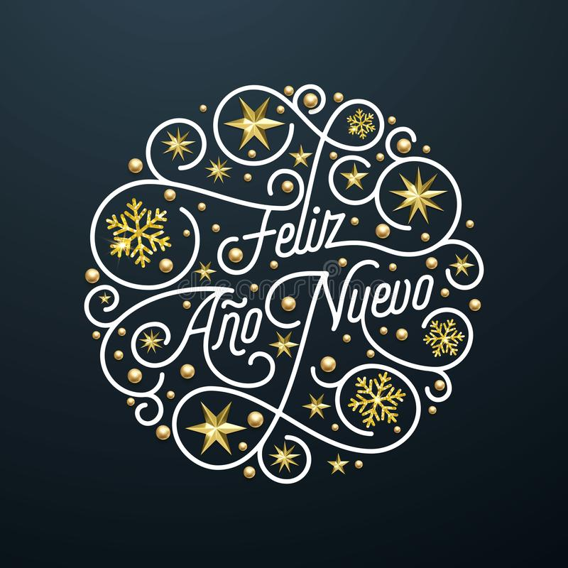 Rotulação da caligrafia de Feliz Ano Nuevo Spanish Happy New Year Navidad, decoração dourada do teste padrão de estrela do floco  ilustração do vetor