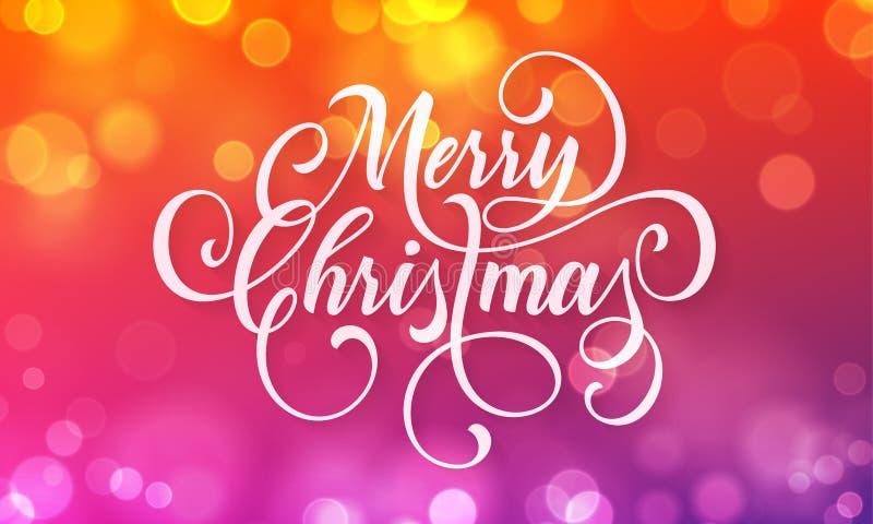 Rotulação da caligrafia do cartão do Feliz Natal na luz efervescente do bokeh ou no efeito de brilho do borrão dos flocos de neve ilustração do vetor