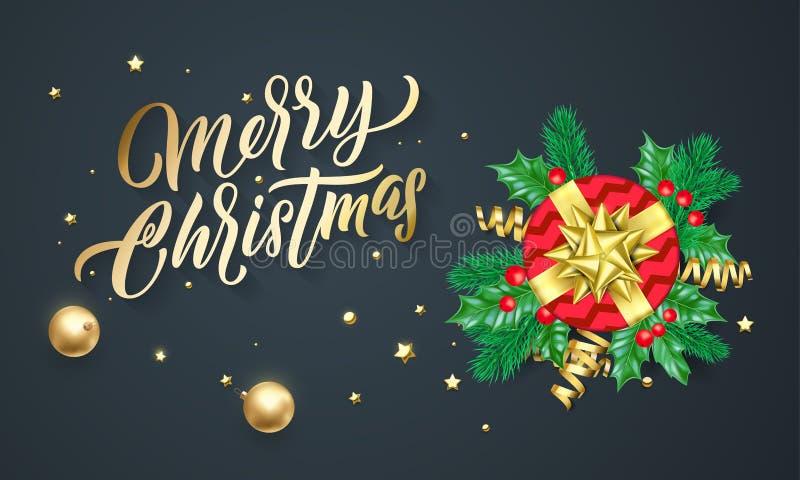 Rotulação da caligrafia do Feliz Natal, presentes do Xmas, estrelas do ouro e confetes Cartão do vetor do feriado do Natal ilustração do vetor