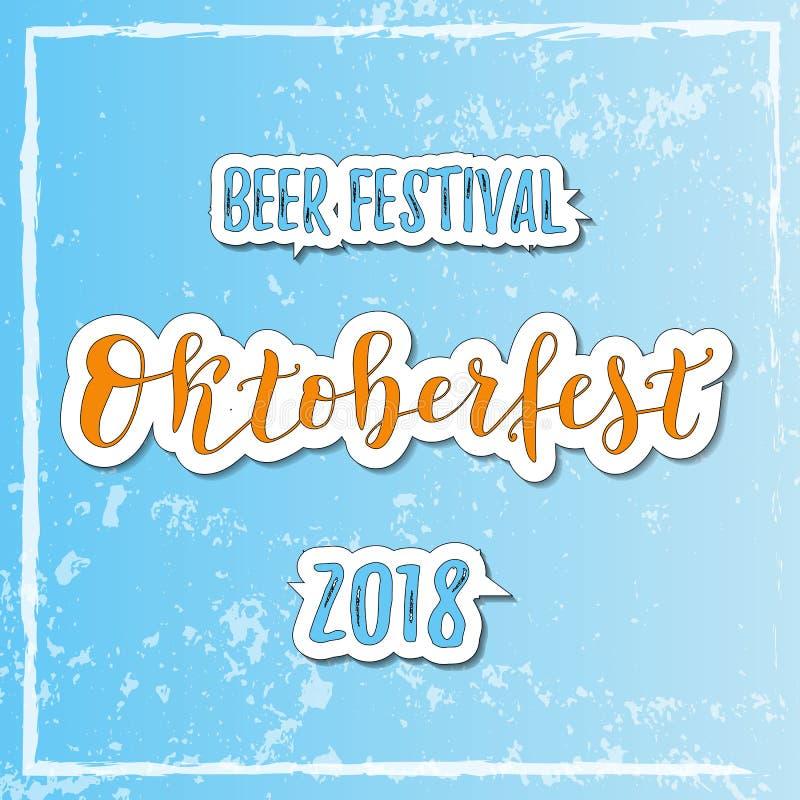 Rotulação da caligrafia do festival 2018 da cerveja de Oktoberfest em alaranjado e em azul com esboço branco no fundo textured az ilustração royalty free