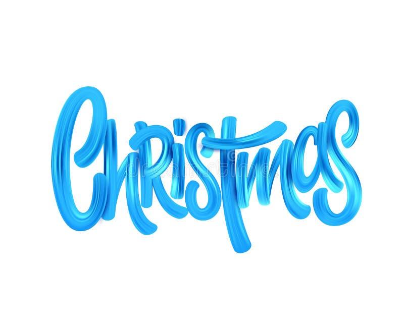 Rotulação da escova de pintura acrílica do Natal ilustração do vetor