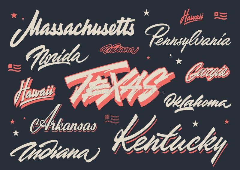 Rotulação da escova dos estados dos EUA ilustração stock