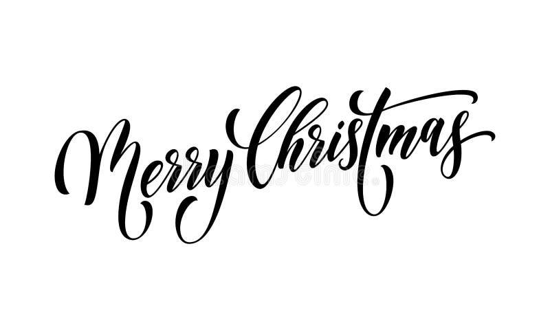 Rotulação da fonte de vetor da caligrafia do cartão das citações do Feliz Natal ilustração stock