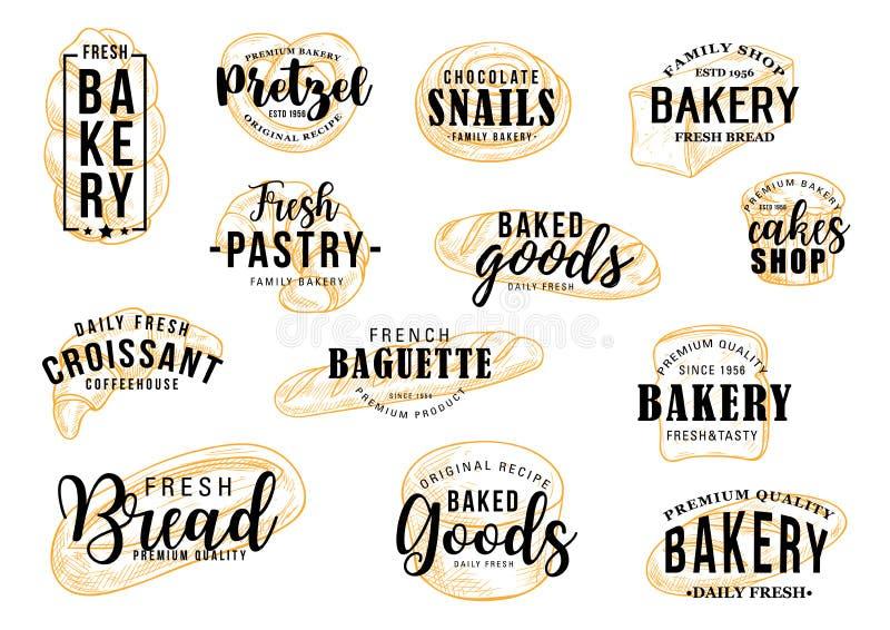 Rotulação da loja, do pão e da pastelaria da pastelaria da padaria ilustração royalty free