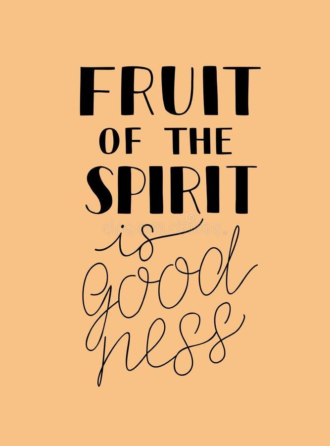 A rotulação da mão com a Bíblia verses o fruto do espírito é bens ilustração royalty free