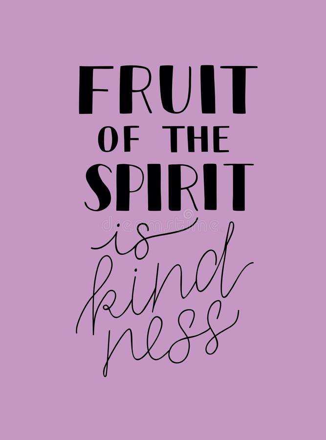 A rotulação da mão com a Bíblia verses o fruto do espírito é bondade ilustração stock