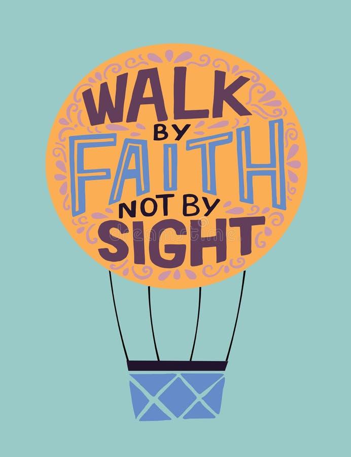Rotulação da mão com caminhada do verso da Bíblia pela fé, não pela vista ilustração do vetor