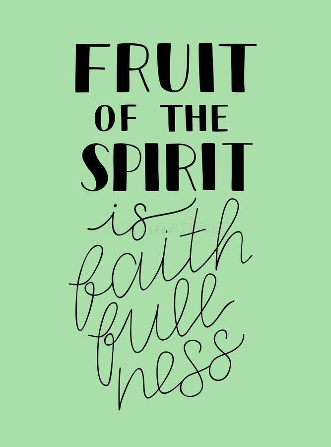 A rotulação da mão com fundo bíblico o fruto do espírito é faithfullness ilustração do vetor