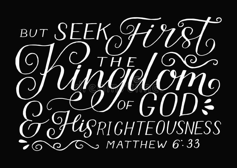 Rotulação da mão com verso da Bíblia mas para procurar primeiramente o reino de deus e de sua retidão no fundo preto ilustração royalty free