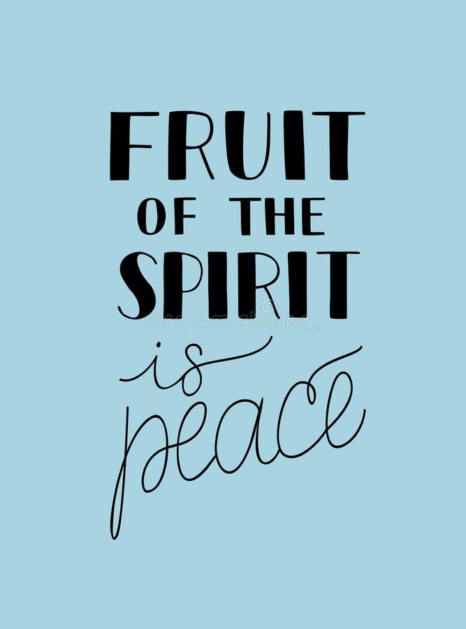 A rotulação da mão com verso da Bíblia o fruto do espírito é paz no fundo azul ilustração do vetor