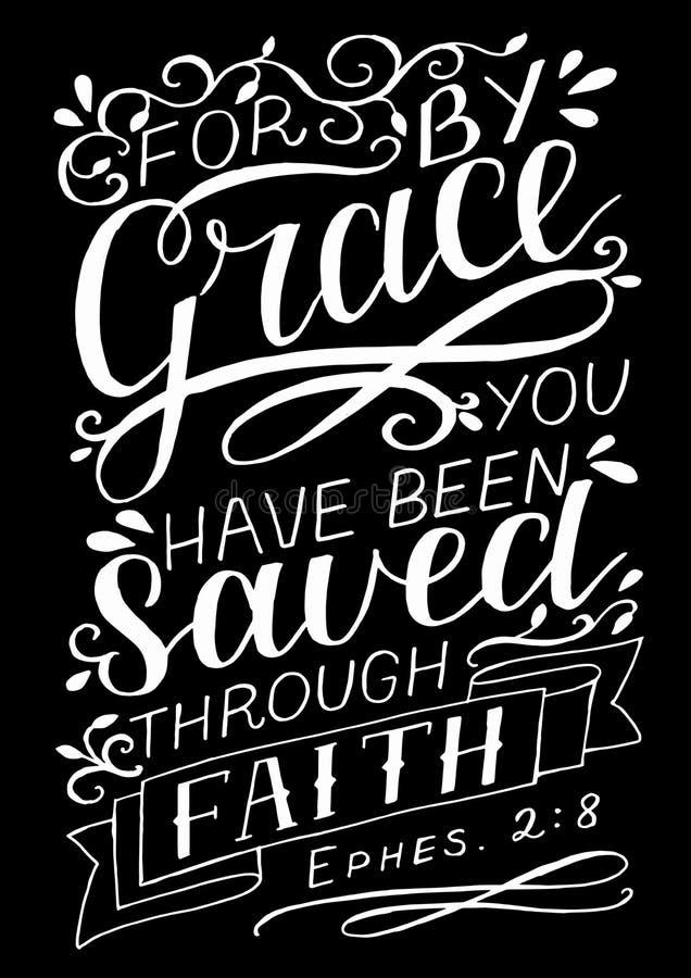 Rotulação da mão com verso da Bíblia para pela benevolência você salvar com a fé no fundo preto ilustração stock