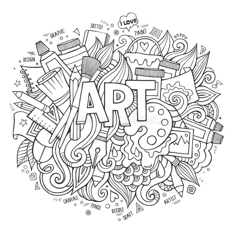 Rotulação da mão da arte e elementos das garatujas ilustração royalty free