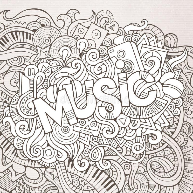 Rotulação da mão da música e elementos das garatujas ilustração stock