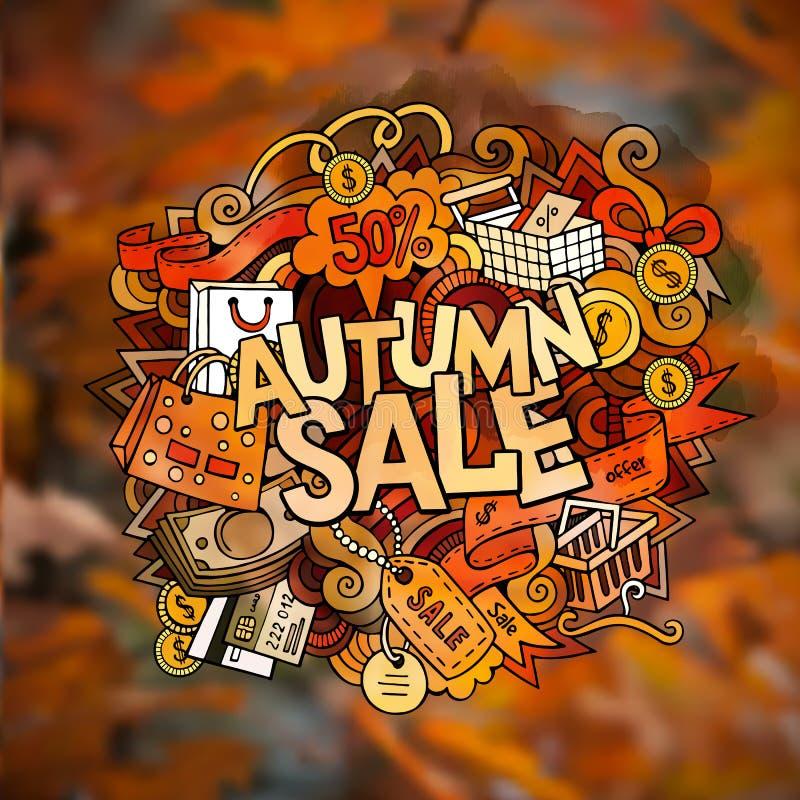 Rotulação da mão da venda do outono e elementos das garatujas ilustração stock