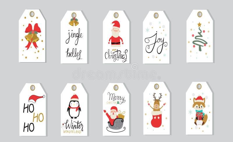 A rotulação da mão das etiquetas dos presentes do Feliz Natal ajustou-se para o holid do inverno ilustração royalty free