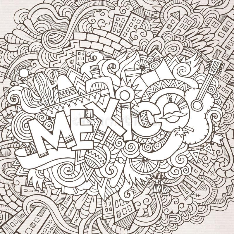 Rotulação da mão de México e elementos das garatujas ilustração do vetor