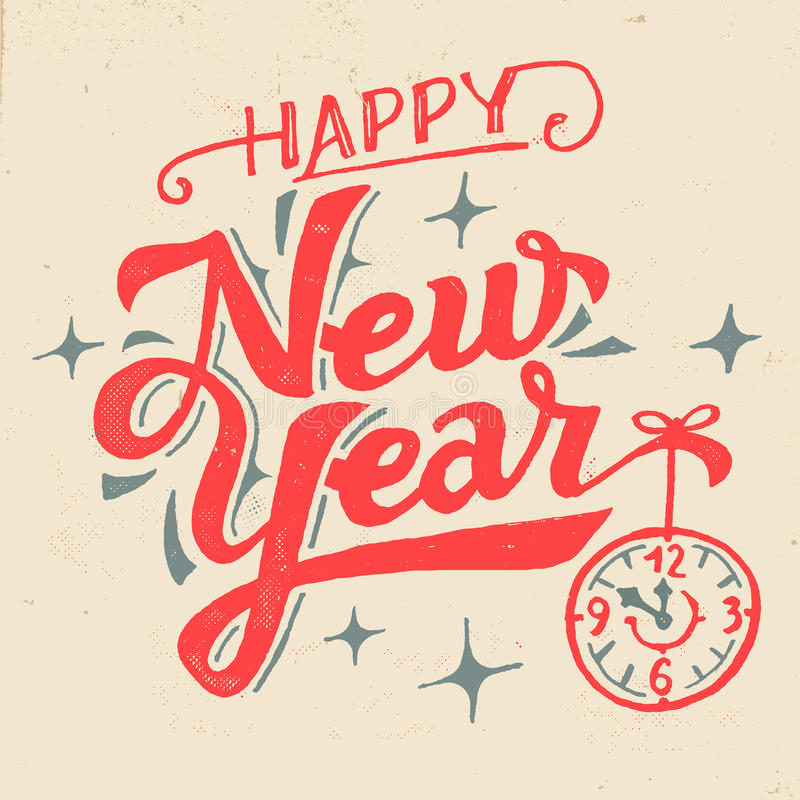 Rotulação da mão do ano novo feliz ilustração royalty free