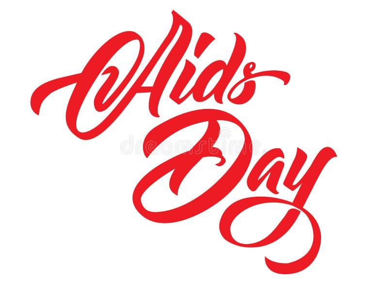Rotulação da mão do dia do SIDA Caligrafia vermelha das fitas ilustração do vetor