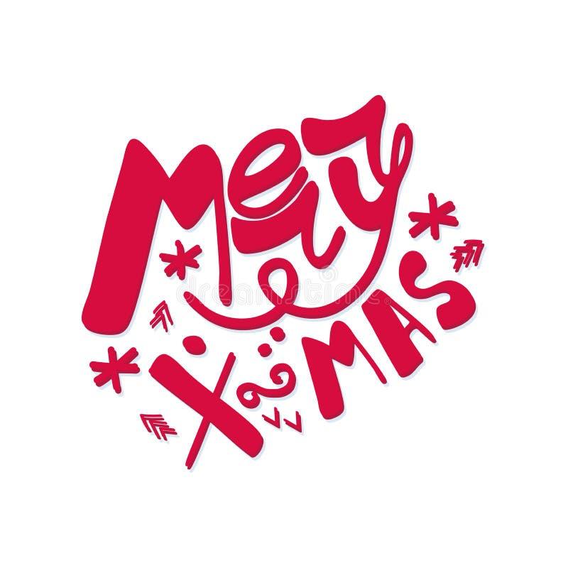 Rotulação da mão do Feliz Natal isolada no branco Imagem do vetor ilustração stock