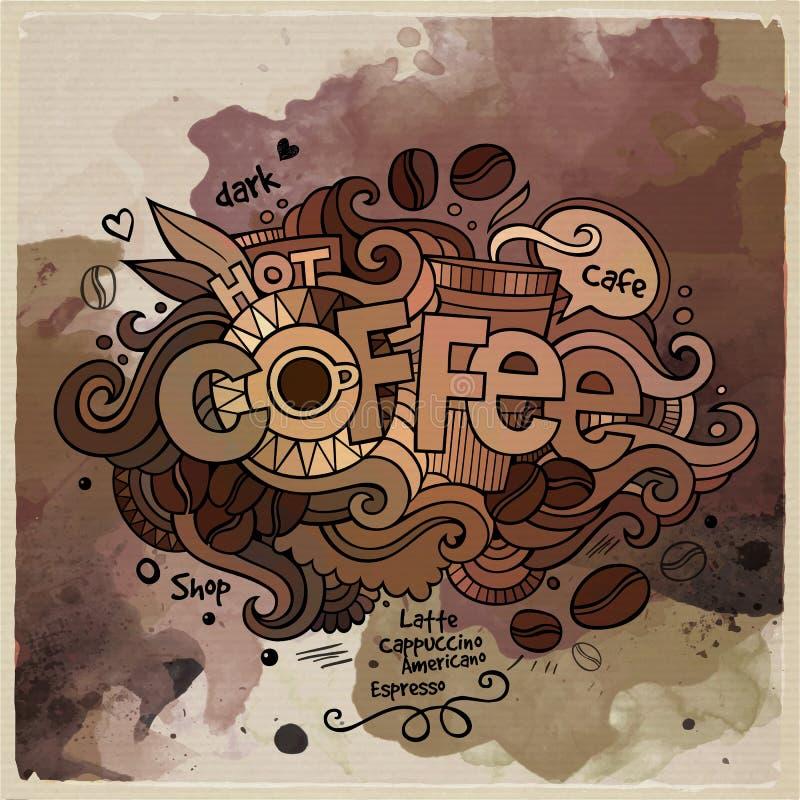 Rotulação da mão dos desenhos animados da aquarela do café e ilustração royalty free
