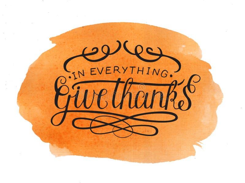 A rotulação da mão em tudo dá agradecimentos no fundo da aquarela imagens de stock