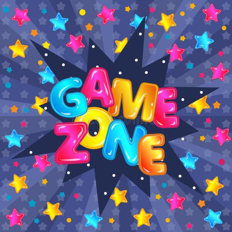 Rotulação da zona do jogo e fundo do texto para a bandeira das crianças das crianças sala ou campo de jogos ilustração royalty free