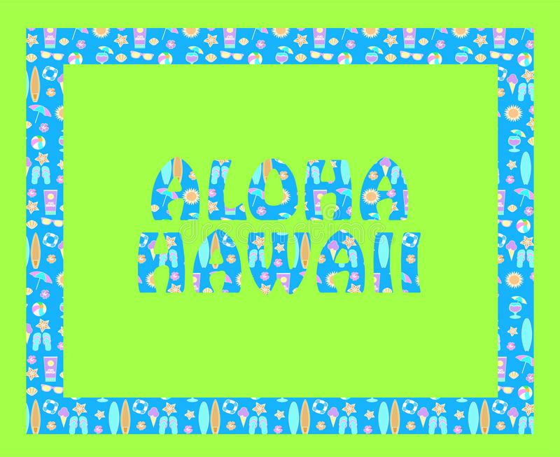 Rotulação de Aloha Hawaii no backround verde Letras tropicais do vetor com ícones coloridos da praia na luz - backround azul ilustração stock
