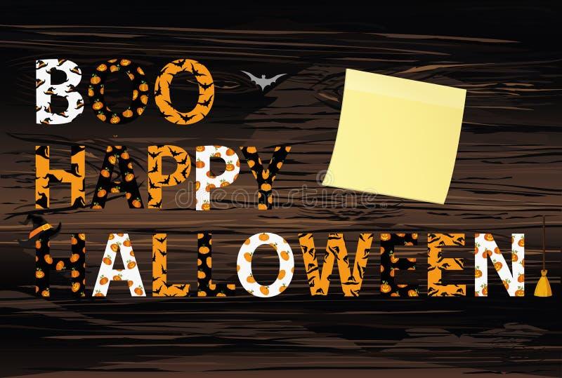 Rotulação de Boo Happy Halloween Vetor na parte traseira de madeira Palavras para ilustração royalty free