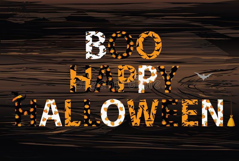 Rotulação de Boo Happy Halloween Vetor no fundo de madeira palavra ilustração stock
