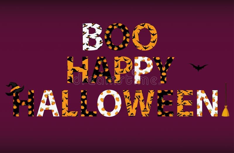 Rotulação de Boo Happy Halloween Vetor Palavras para convites ilustração stock