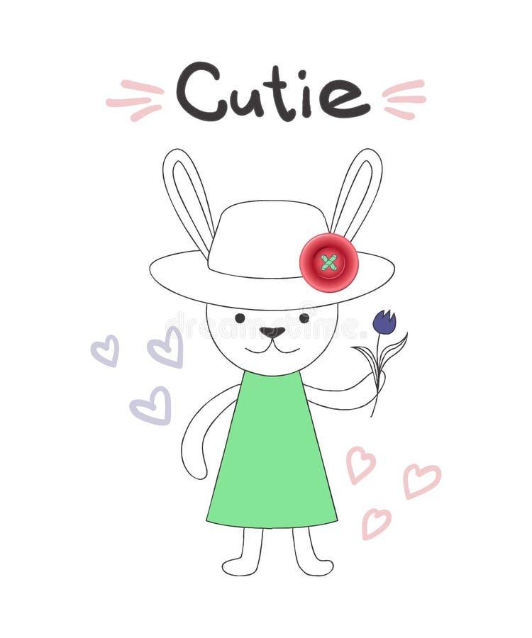 Rotulação de Cutie, ilustração do vetor, coelho no estilo linear dos desenhos animados com detalhe cor-de-rosa realístico do botã ilustração do vetor