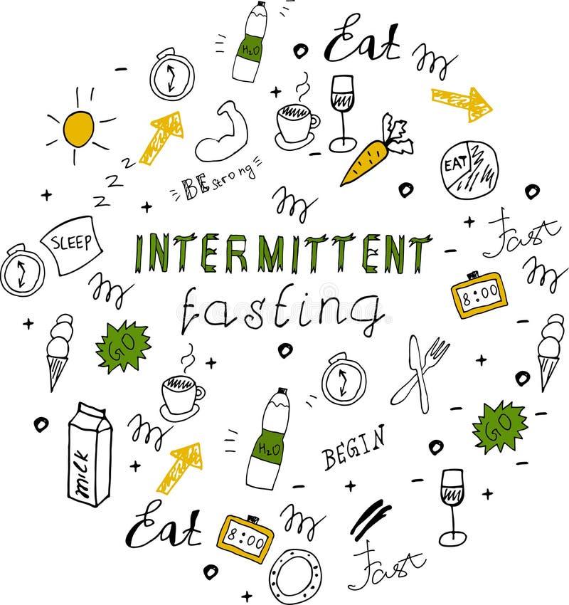 Rotulação de jejum intermitente da dieta do estilo da garatuja ilustração stock