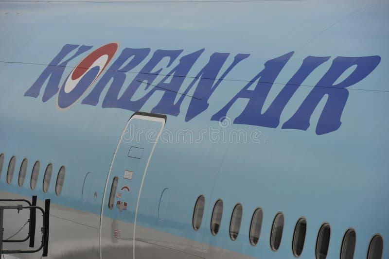 Rotulação de Korean Air fotografia de stock royalty free