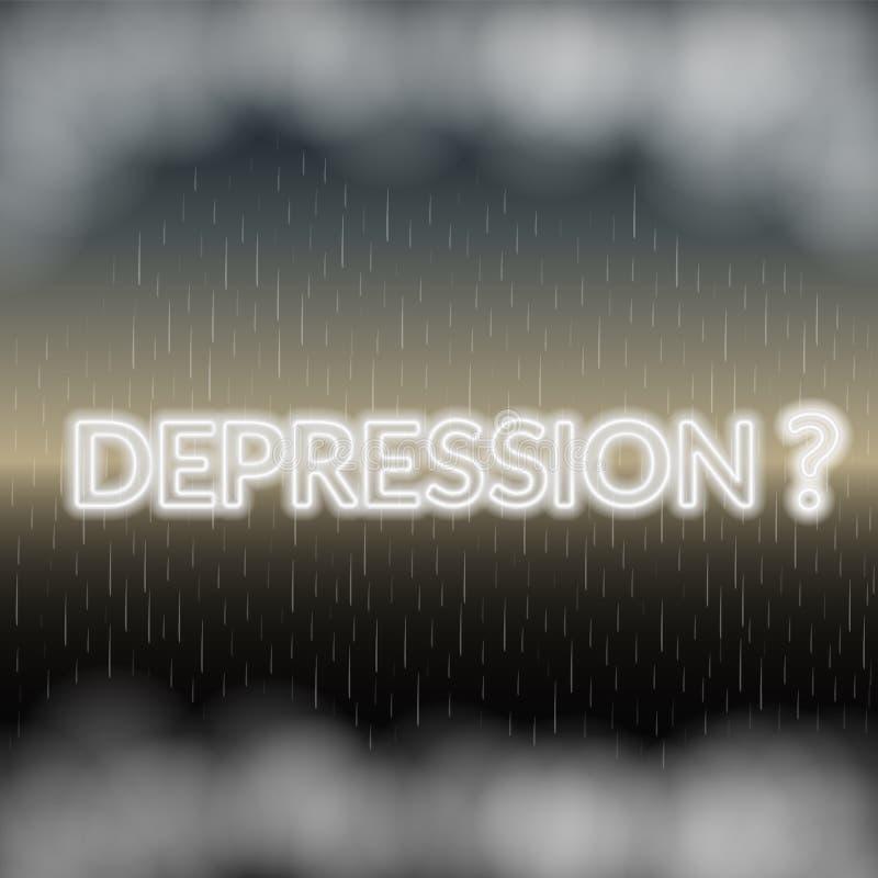 Rotulação de néon da depressão Modo triste Ilustração do vetor ilustração royalty free