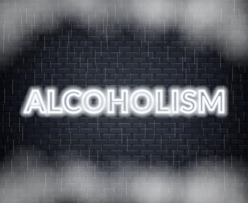 Rotulação de néon do alcoolismo Modo triste Ilustração do vetor ilustração do vetor