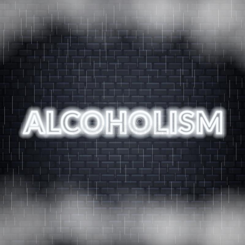 Rotulação de néon do alcoolismo Modo triste Ilustração do vetor ilustração royalty free