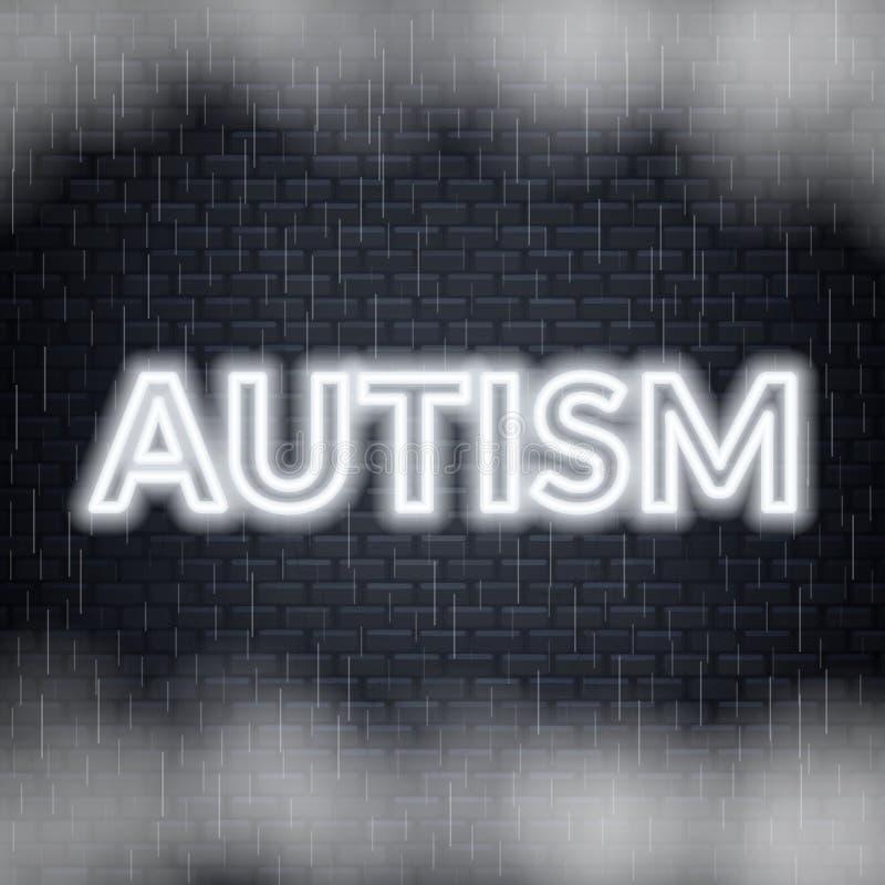 Rotulação de néon do autismo Modo triste Ilustração do vetor ilustração stock