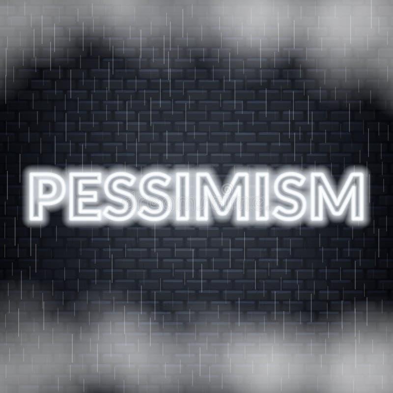 Rotulação de néon do pessimismo Modo triste Ilustração do vetor ilustração do vetor
