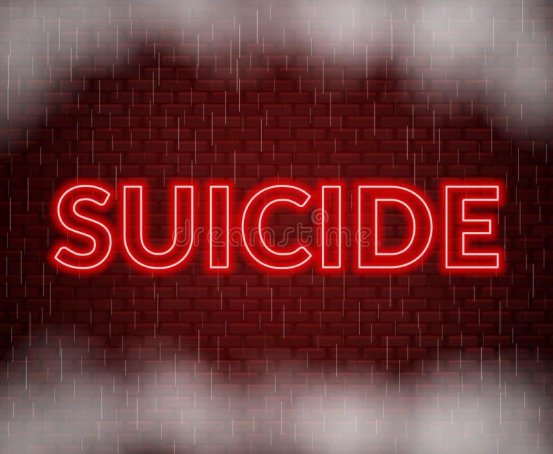 Rotulação de néon do suicídio Modo triste Ilustração do vetor ilustração do vetor