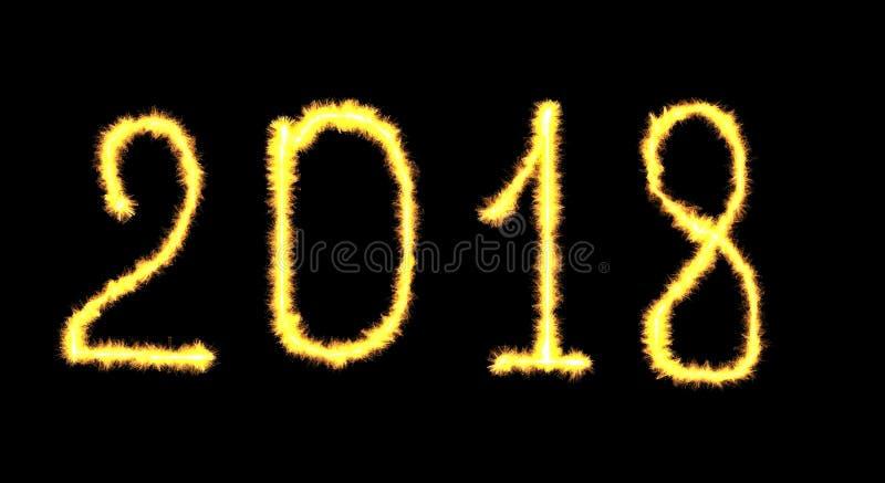 Rotulação de néon de incandescência do ano novo feliz 2018 escrita com fla do fogo fotos de stock royalty free