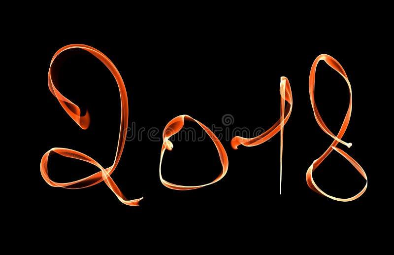 Rotulação de néon de incandescência do ano novo feliz 2018 escrita com fla do fogo imagem de stock royalty free