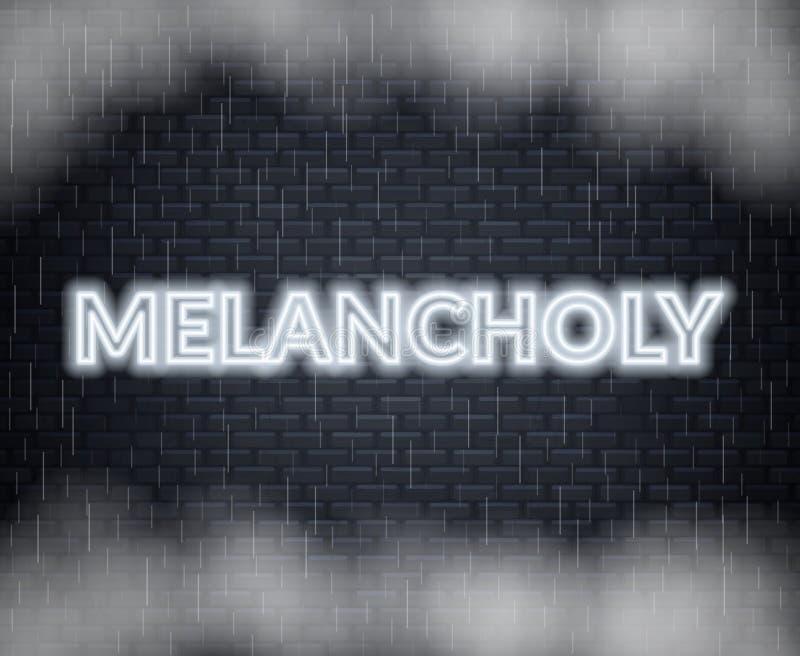Rotulação de néon melancólica Modo triste Ilustração do vetor ilustração royalty free