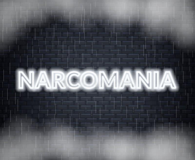 Rotulação de néon de Narcomania Modo triste Ilustração do vetor ilustração stock