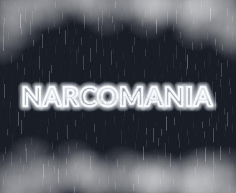 Rotulação de néon de Narcomania Modo triste Ilustração do vetor ilustração do vetor