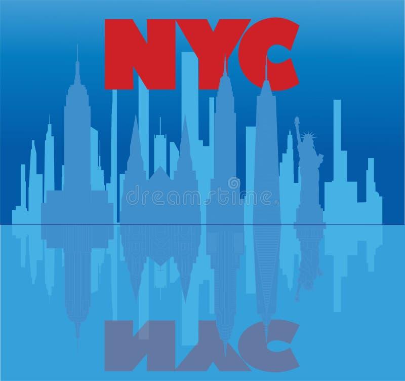 Rotulação de New York, arranha-céus vermelhos e ícones do curso que refletem em claro - água azul Curso ilustração stock