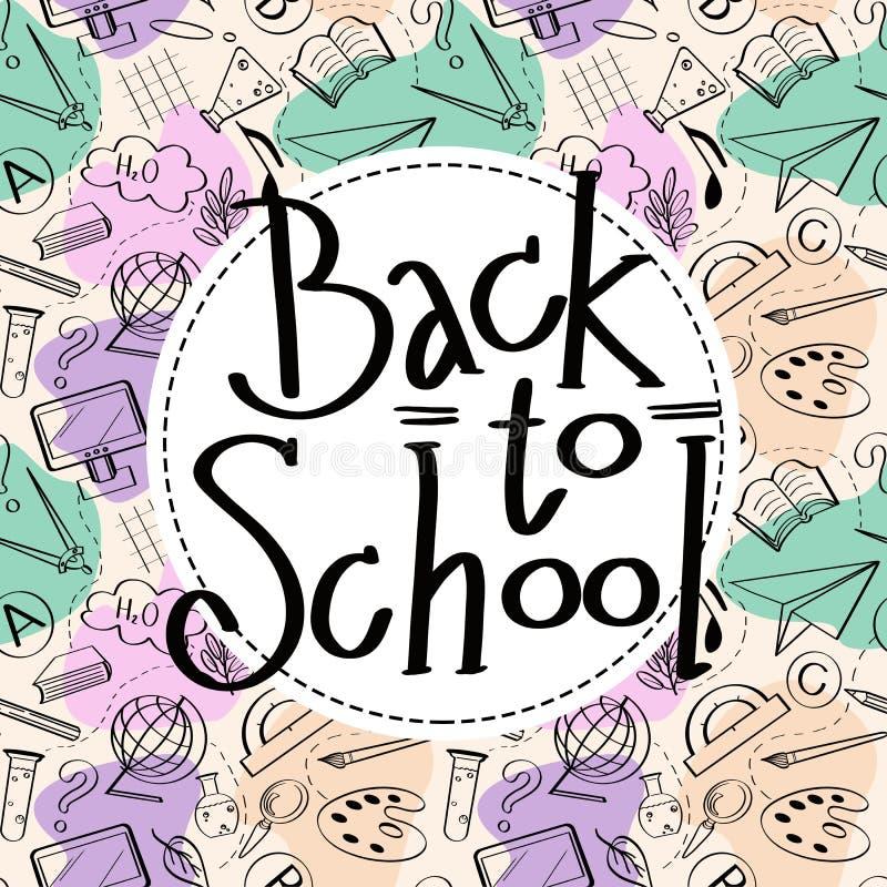 Rotulação de volta ao esboço da escola no círculo branco e no fundo colorido sem emenda ilustração stock