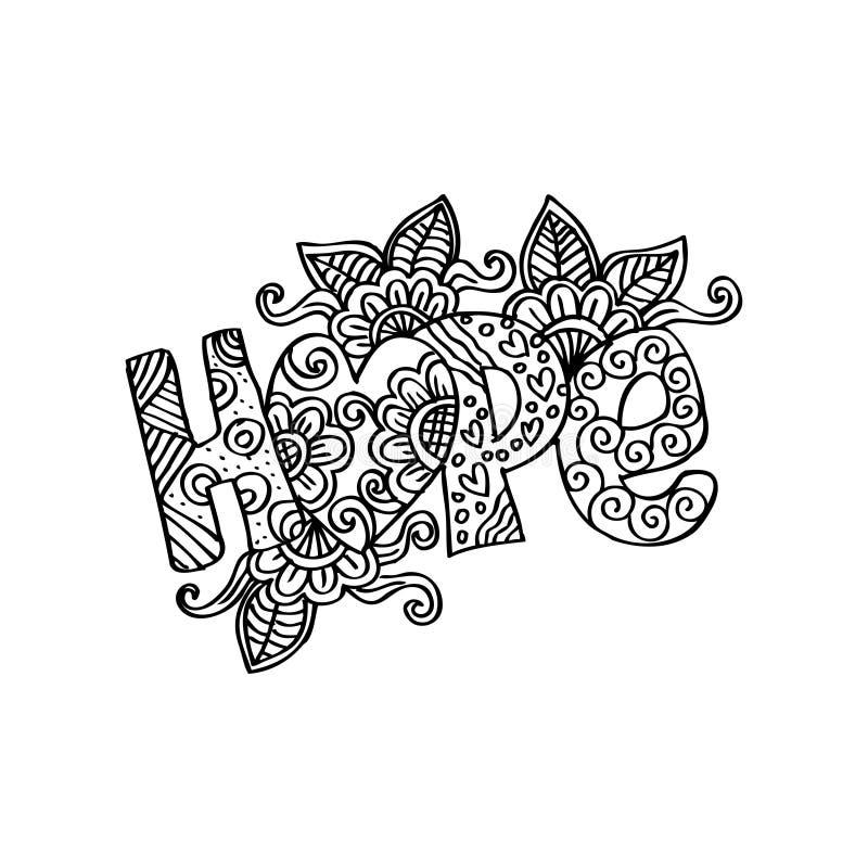 Rotulação decorativa da esperança ilustração do vetor