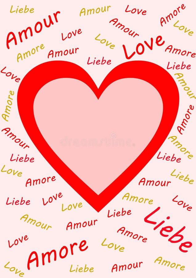 Rotulação do amor da palavra multilingue no rosa ilustração royalty free