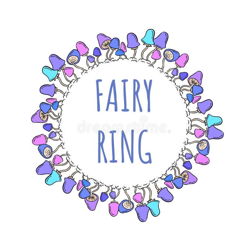 Rotula??o do anel feericamente em uma grinalda do cogumelo ilustração royalty free