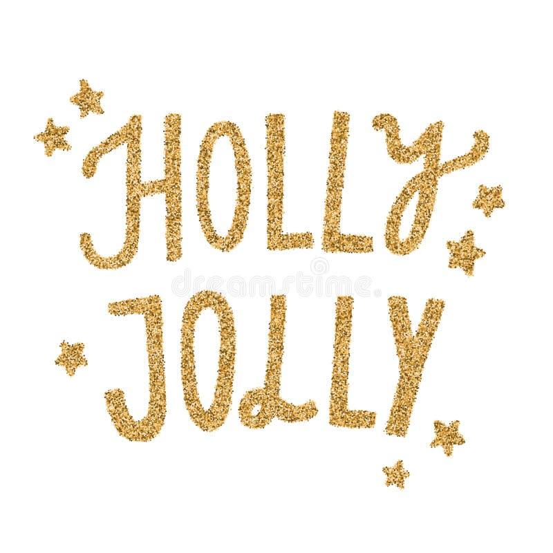 Rotulação do brilho do ouro de Holly Jolly do vetor ilustração stock